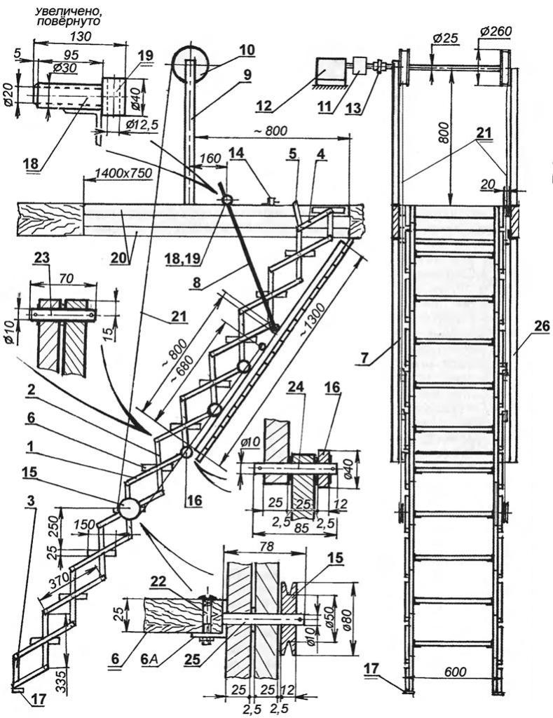 Лестница на чердак раскладная своими руками чертеж