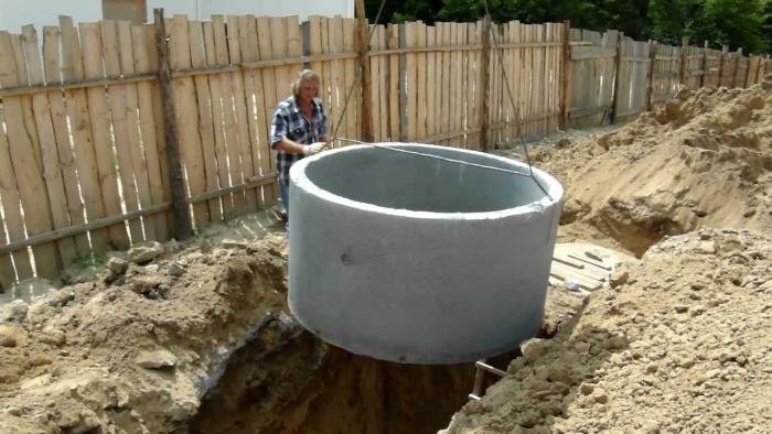Установка бетонных колец с помощью крана